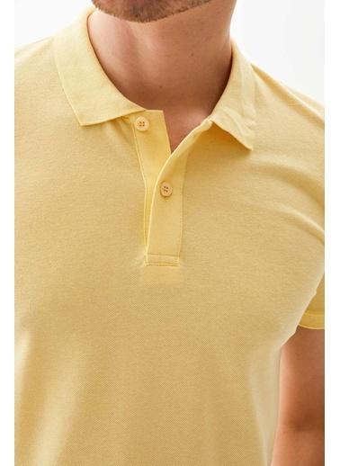 DeFacto Polo Yaka Regular Fit Basic Pike Tişört Sarı